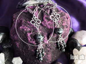 Ear Weights / Hangies - Snowflake Obsidian Patterned Hoop Hangies PAIR READY NOW