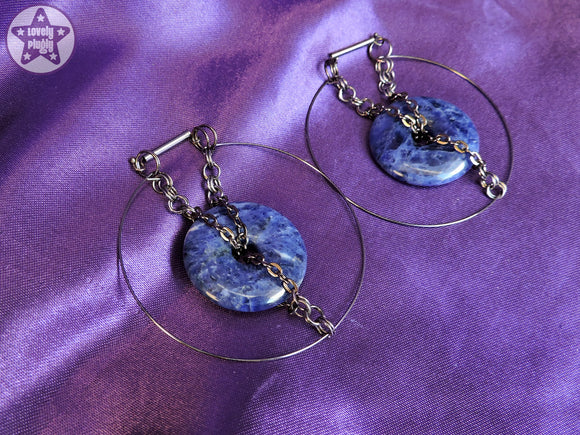 Ear Weights / Hangies: Blue White Sodalite Donut Gunmetal Hoops PAIR
