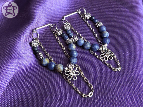 Ear Weights / Hangies - Blue Sodalite Flowers Silver Copper Chain 6mm+ / 2g+ PAIR READY NOW