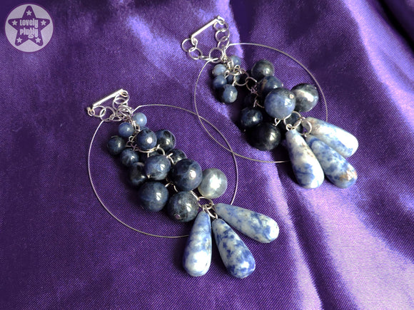 Ear Weights / Hangies: Blue Sodalite Teardrop Cascade Hoops PAIR