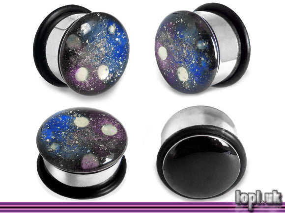 Ear Plugs / Gauges: Space is Deep Blue Purple Galaxy Nebula Glitter