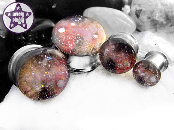 Ear Plugs / Gauges - Space is Deep Pink Gold Galaxy Glitter Plugs PREORDER