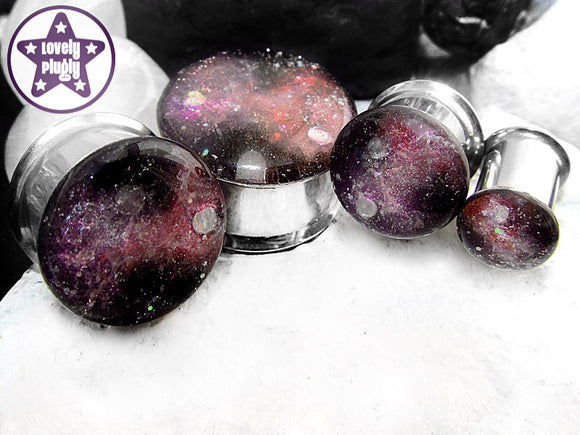 Ear Plugs / Gauges - Space is Deep Pink Purple Galaxy Glitter Plugs PREORDER