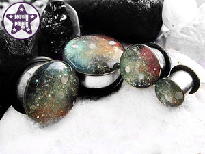 Ear Plugs / Gauges: Space is Deep Red Green Galaxy Nebula Glitter