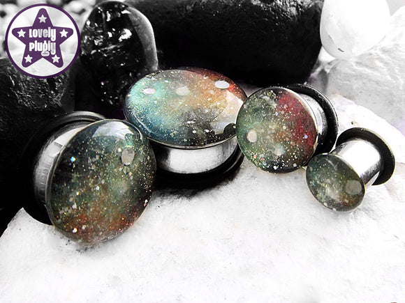Ear Plugs / Gauges - Space is Deep Red Green Galaxy Glitter Plugs PREORDER