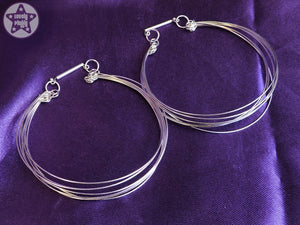 Ear Weights / Hangies - Stack Seven Silver Plated Hoop Hangies 6mm+ 2g+ PAIR READY NOW