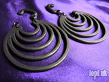 Ear Weights / Hangies: Antique Steel Super Hoops PAIR