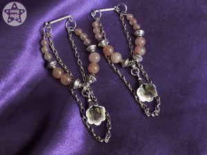 Ear Weights / Hangies - Strawberry Quartz Flowers Silver Copper Chain 6mm+ / 2g+ PAIR READY NOW