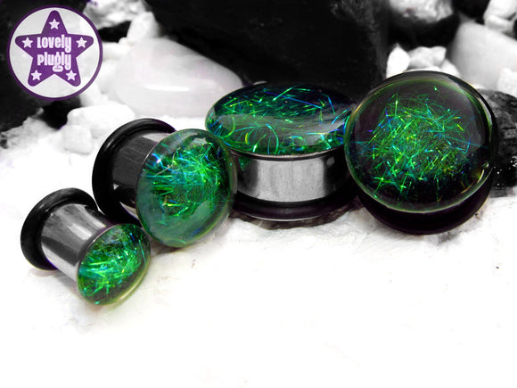 Ear Plugs / Gauges - Subspace Green Black Spaghettified Galaxy Plugs PREORDER