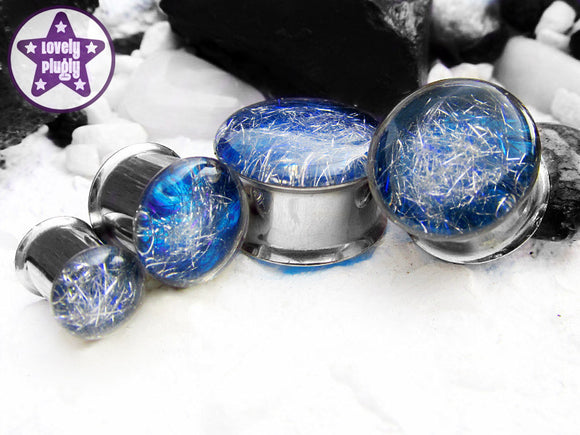 Ear Plugs / Gauges - Subspace Silver Blue Spaghettified Galaxy Plugs PREORDER