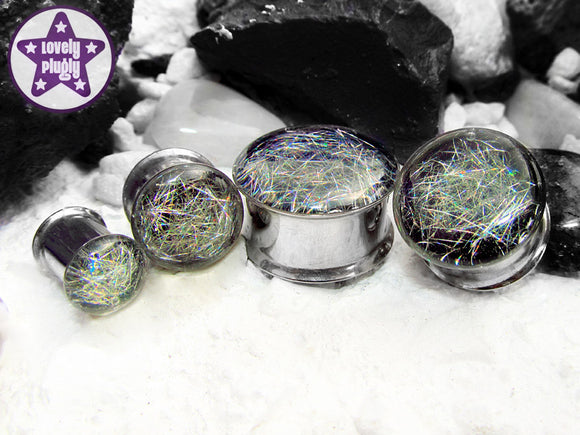 Ear Plugs / Gauges - Subspace Silver Rainbow Holgraphic Spaghettified Galaxy Plugs PREORDER