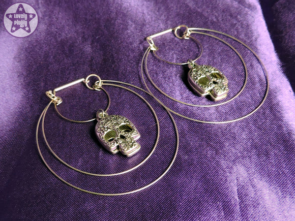 Ear Weights / Hangies - Silver Toned Sugar Skull Hoops PAIR READY NOW