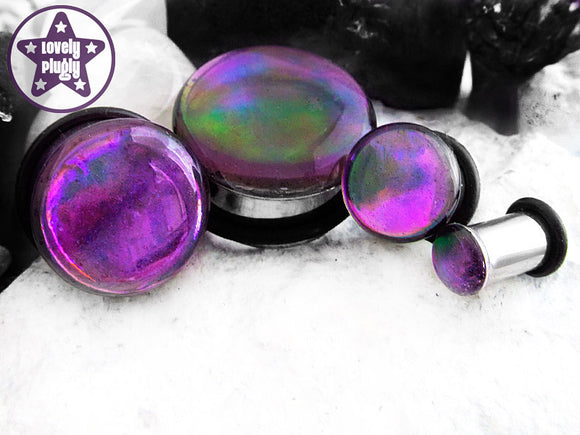Ear Plugs / Gauges: Sunset No 7 Purple Rainbow Translucent Faux Dichro