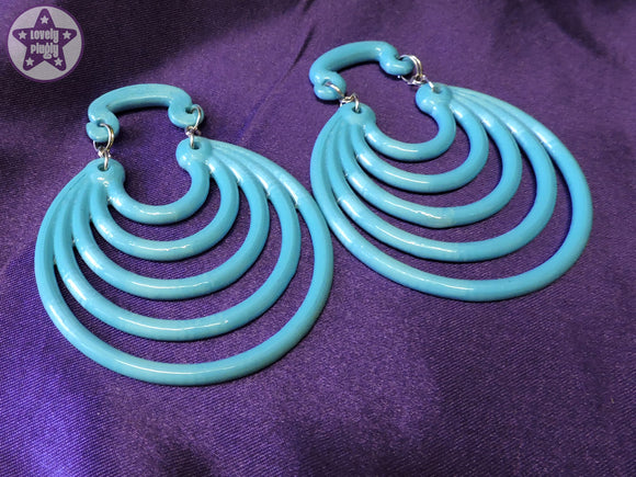 Ear Weights / Hangies - Blue Ice Super Hoops 8mm+ / 0g+ PAIR READY NOW
