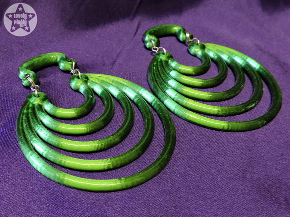 Ear Weights / Hangies - Emerald Green Ice Super Hoops 8mm+ / 0g+ PAIR READY NOW