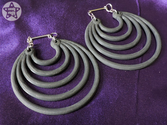 Ear Weights / Hangies: Grey & Silver Tone Super Hoops PAIR
