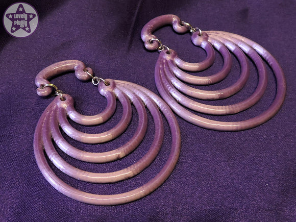 Ear Weights / Hangies: Lilac Ice & Silver Tone Super Hoops PAIR