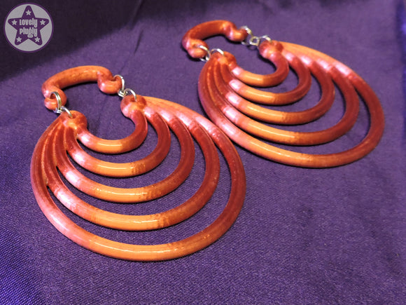 Ear Weights / Hangies : Pink Orange Ice Super Hoops PAIR