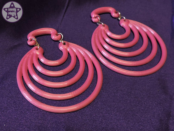 Ear Weights / Hangies: Silver & Pink Ice Super Hoops PAIR