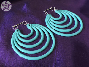 Ear Weights / Hangies - Teal Super Hoops 6mm+ / 2g+ PAIR READY NOW