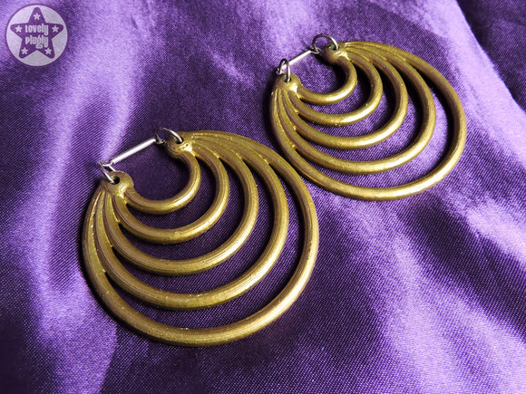 Ear Weights / Hangies: Metallic Brass Effect Super Hoops PAIR