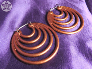 Ear Weights / Hangies: Metallic Copper Effect Super Hoops PAIR