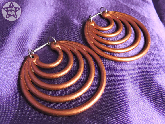 Ear Weights / Hangies - Faux Copper Super Hoops 6mm+ / 2g+ PAIR READY NOW