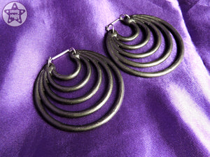 Ear Weights / Hangies - Faux Gunmetal Super Hoops 6mm+ / 2g+ PAIR READY NOW