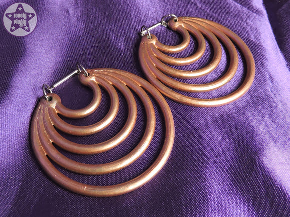 Ear Weights / Hangies: Metallic Rose Gold Effect Super Hoops PAIR