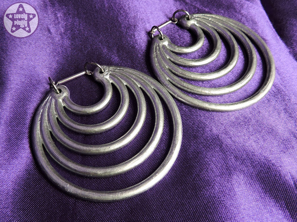 Ear Weights / Hangies: Metallic Silver Effect Super Hoops PAIR