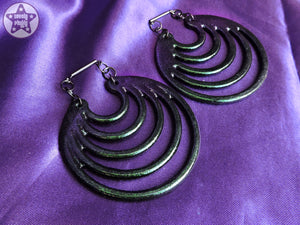 Ear Weights / Hangies: Green to Purple Chameleon Super Hoops PAIR