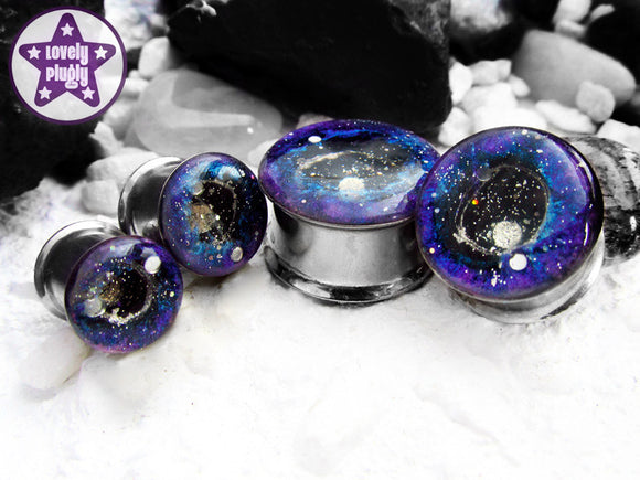 Ear Plugs / Gauges: Supernova Remnant Blue Purple Galaxy Glitter