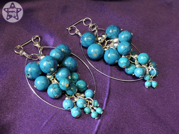 Ear Weights / Hangies: Turquoise Stone & Silver Hoop Cascades PAIR