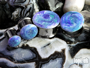 Ear Plugs / Gauges - Coriolis Purple Teal White Resin Swirl Plugs PREORDER