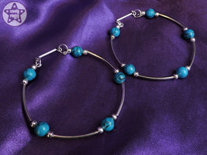Ear Weights / Hangies - Synthetic Turquoise Silver Plated Hoop Hangies 6mm+ 2g+ PAIR READY NOW