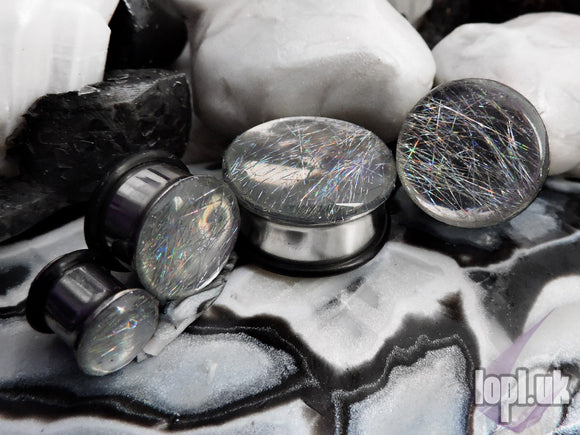 Ear Plugs / Gauges: Velocity Silver Chrome Holographic Rainbow Streaks