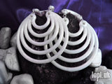 Ear Weights / Hangies - White Ice Super Hoops 8mm+ / 0g+ PAIR READY NOW
