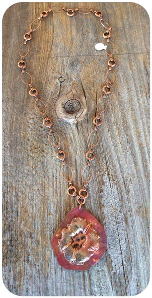 Copper Wired on Red Copper Necklace
