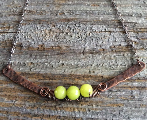 Lime Green Agate Beaded Copper Bar Necklace