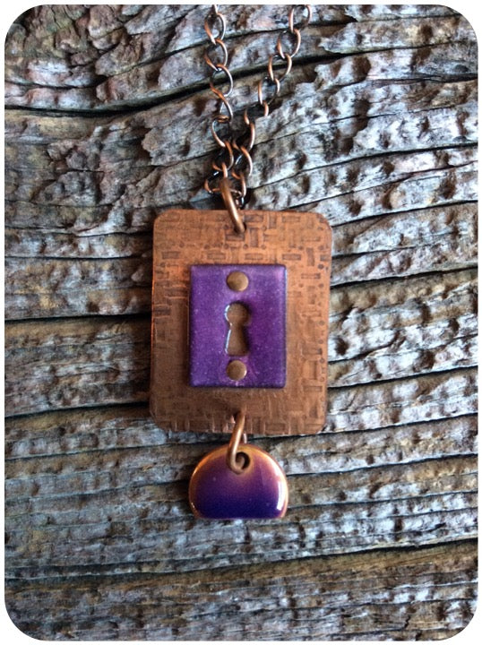 Copper Purple Keyhole Pendant
