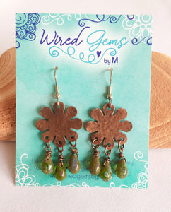 Copper 8 Petal Floral Earrings