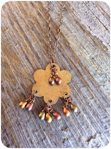 Brass Floral Drop Necklace