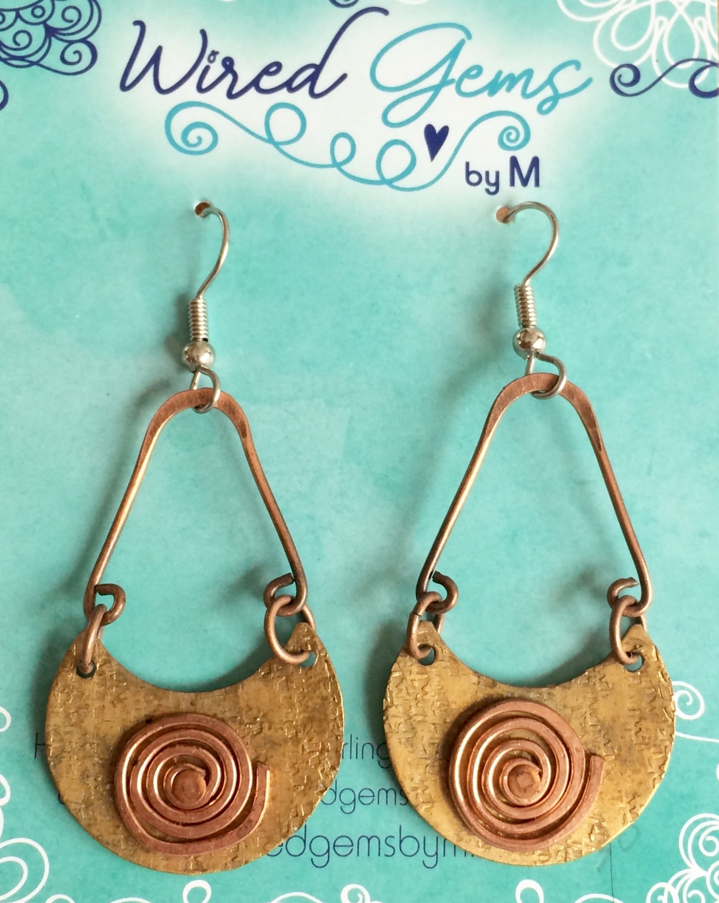 Swinging Brass and Copper Earrings