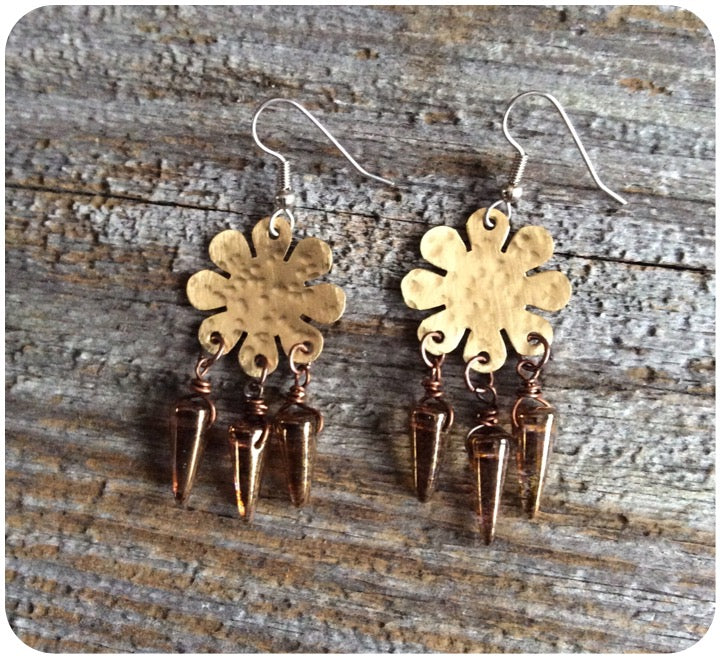 Floral Brass and Czech Glass Earrings