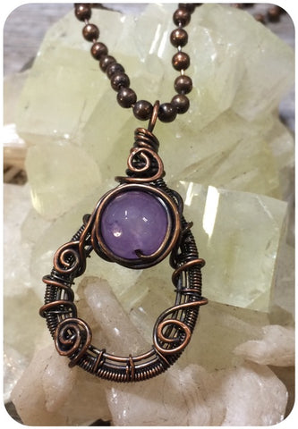 Purple Agate Copper Wired Pendant