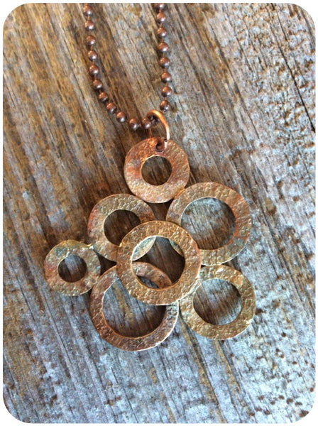 7 Ring Copper Washer Necklace