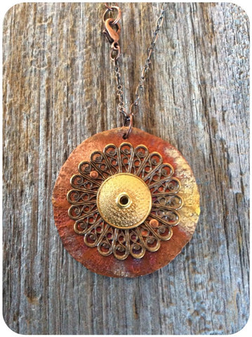 Circular Filigree and Torchfired Pendant