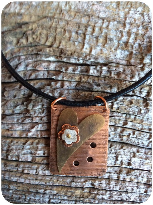 Copper and Brass Heart Necklace