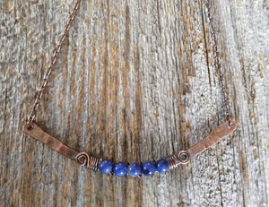 Denim blue Agate Copper Bar Necklace