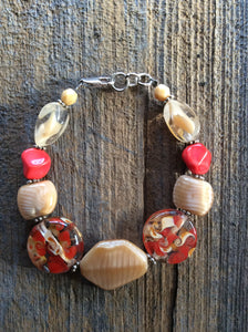Cream and Red Glass Bracelet